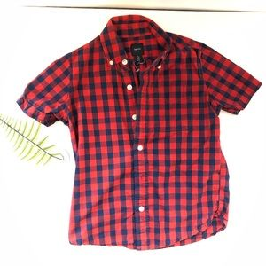 Gap kids boys button up blue and red